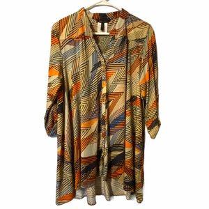 BCBG Max Azria multicolored zig zag blouse size XL